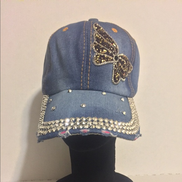 Blue Jean Studded Baseball Cap Bling Hat d18ffb53cac2